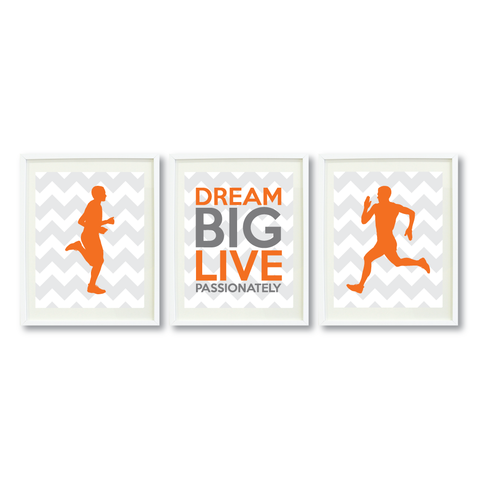 Dream Big Live Passionately Print Set - Running Gift for Boys - Men - Male - Sports Team Player - Guys Marathon Runner - Grey, White, Carrot Orange, Titanium