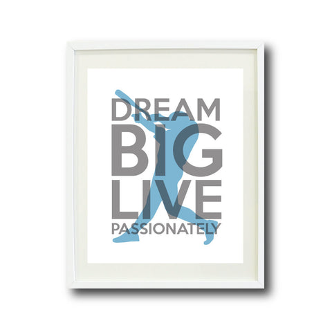 Dream Big Live Passionately Wall Art Print for Baseball Players - Boys Baseball Team - Teen Room Decor - Titanium, White, Dusk Blue