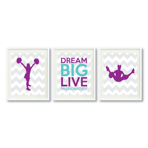 Dream Big Live Passionately Print Set - Cheer Gift - Purple and Pool