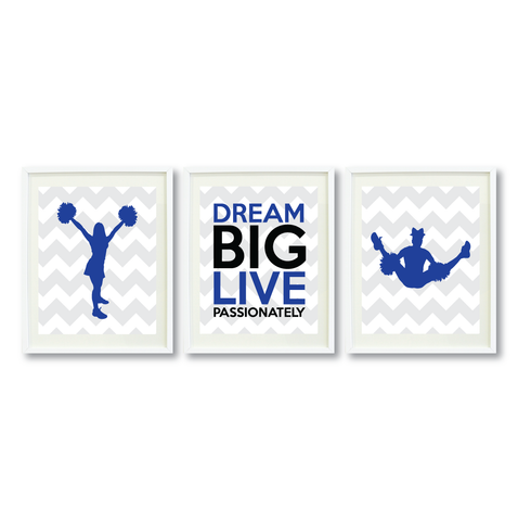Cheerleading Dream Big Live Passionately Print Set - Cheer Gift - Royal Blue, Black and Grey