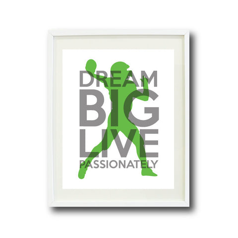 Dream Big Live Passionately Art Print - Football Player - Sports Team Gift - Grey and Light Green