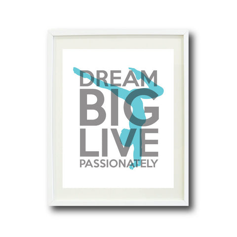 Dream Big Live Passionately - Gymnastics Wall Art - Gymnast Gift - Grey and Aqua