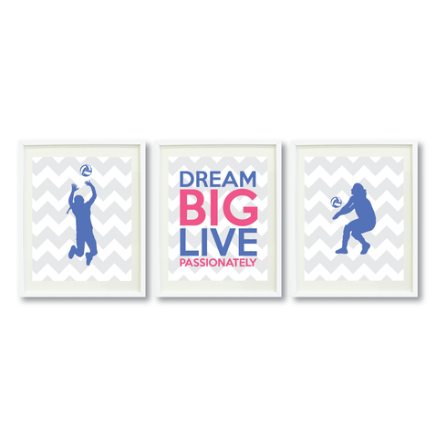 Dream Big Live Passionately Wall Art Print Set - Volleyball Player Gift - Periwinkle and Pink