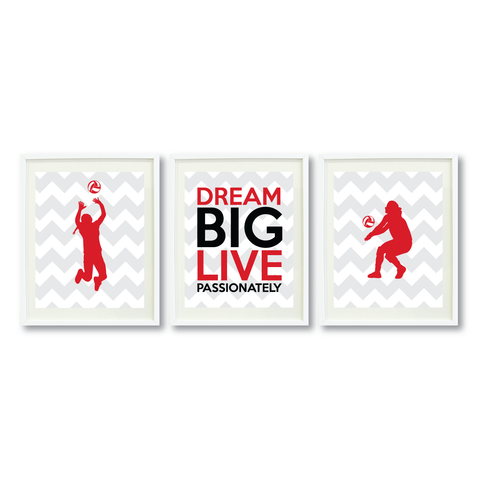 Dream Big Live Passionately Wall Art Print Set - Volleyball Player Gift - Black, White and Red