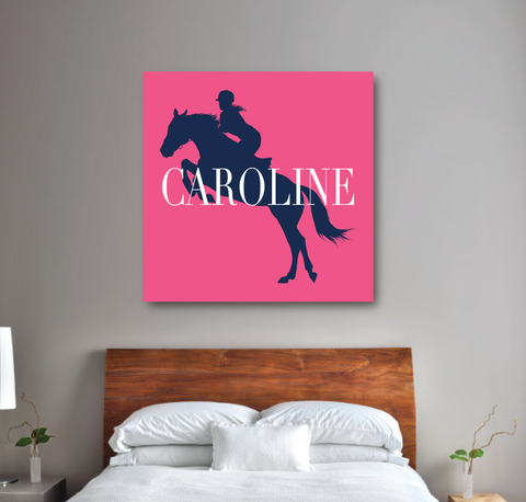 Custom Equestrian Canvas for Girls - Horse Themed Gift for Teens - Pink, Navy and White