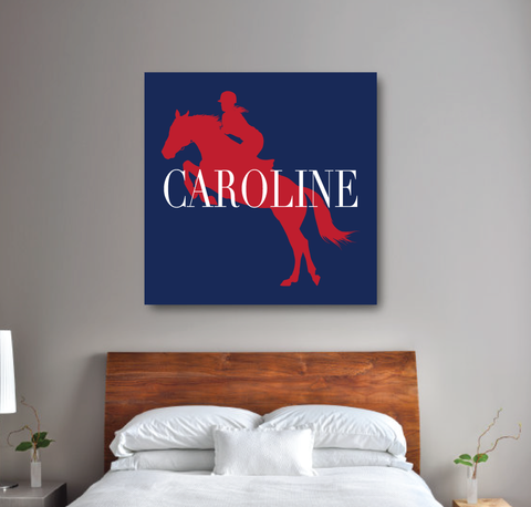 Custom Equestrian Canvas for Girls - Horse Themed Gift for Teens - Red, White and Navy Blue
