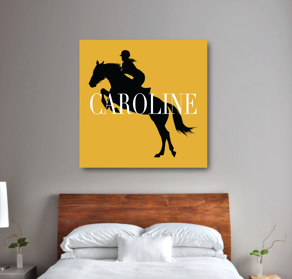 Equestrian Canvas with Silhouette and Name | Bubble Gum Pink, Navy Blue and White | Choose ANY Colors