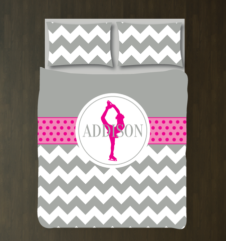 Custom Chevron and Polka Dot Figure Skating Bedding Set for Girls - Duvet Cover and Shams for Teens - Figure Skater - Ice Dancer Dancing - White, Grey, Hot Pink