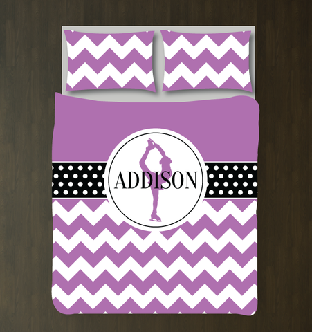 Custom Chevron and Polka Dot Figure Skating Bedding Set for Girls - Duvet Cover and Shams for Teens - Figure Skater - Ice Dancer Dancing - White, Black, Radiant Orchid