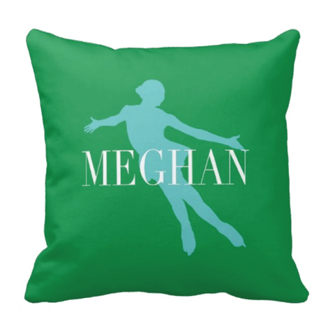 Personalized Figure Skating Pillow - Silhouette and Monogrammed Name - Ice Dancing Gift for Girls and Teens - White, Green, Pool