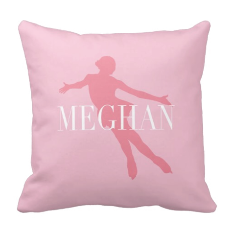 Personalized Figure Skating Pillow - Silhouette and Monogrammed Name - Ice Dancing Gift for Girls and Teens - White, Bubble Gum Pink, Light Pink
