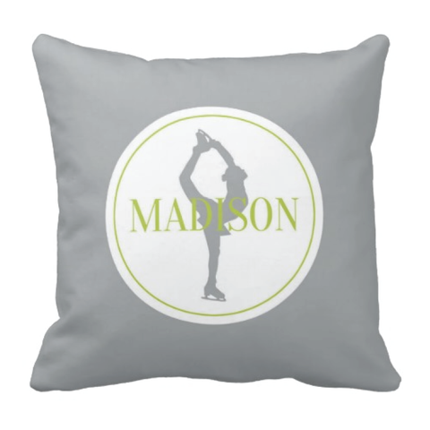 Custom Figure Skating Pillow - Silhouette and Monogrammed Name - Ice Dancing Gift for Girls and Teens - White, Grey, Lime Green