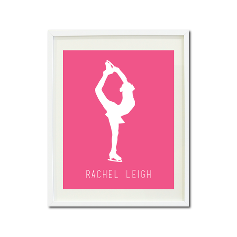 Custom Figure Skater Wall Art Print - Ice Dancing Silhouette - Gift for Girls and Teens – Figure Skating Themed Bedroom Decor- White and Bubble Gum Pink