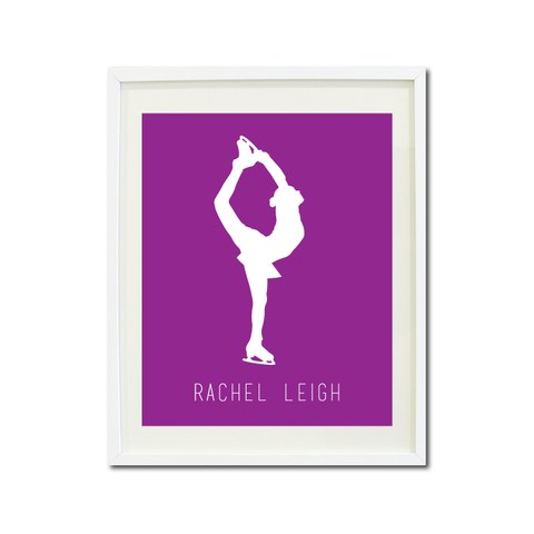 Custom Figure Skater Wall Art Print - Ice Dancing Silhouette - Gift for Girls and Teens – Figure Skating Themed Bedroom Decor- White and Purple