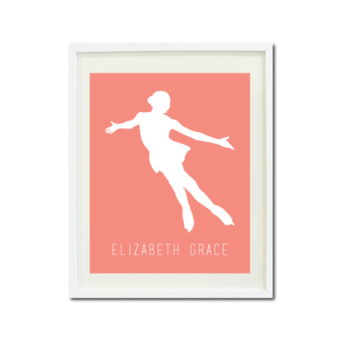 Figure Skater Wall Art Print - Ice Dancing Silhouette - Gift for Girls and Teens – Figure Skating Themed Bedroom Decor- White and