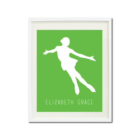 Figure Skater Wall Art Print - Ice Dancing Silhouette - Gift for Girls and Teens – Figure Skating Themed Bedroom Decor- White and Light Green