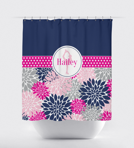 Custom Figure Skating Shower Curtain with Modern Flowers - Custom Gift for Girls and Teens - Kids and Children - Personalized - Ice Dancing - Skater - Dancer - White, Hot Pink, Light Pink, Navy Blue