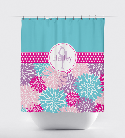 Custom Figure Skating Shower Curtain with Modern Flowers - Custom Gift for Girls and Teens - Kids and Children - Personalized - Ice Dancing - Skater - Dancer - White, Hot Pink, Light Pink, Aqua, Purple