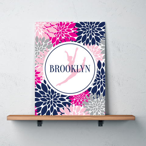 Modern Flower Dance Gallery Wrapped Canvas - Personalized with Name - Dancer Bedroom Decor for Girls and Teens - Preppy College Dorm Room - Navy, Hot Pink, Light Pink, Grey