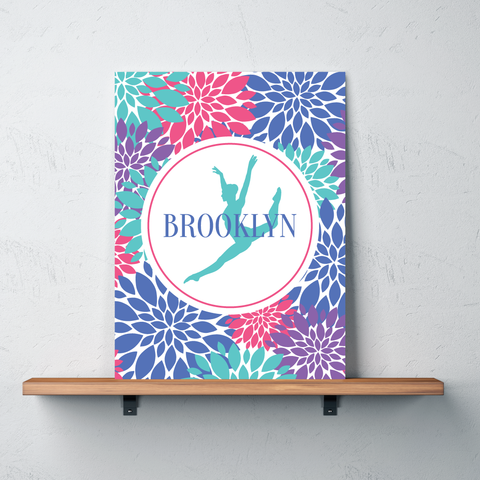 Modern Flower Dance Gallery Wrapped Canvas - Personalized with Name - Dancer Bedroom Decor for Girls and Teens - Preppy College Dorm Room - Periwinkle, Pool, Pink, Purple