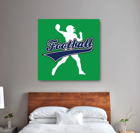 Football Player Themed Canvas - Wall Art For Boys Room - Football Themed Bedroom - Room Decor - Navy Blue, Green and White