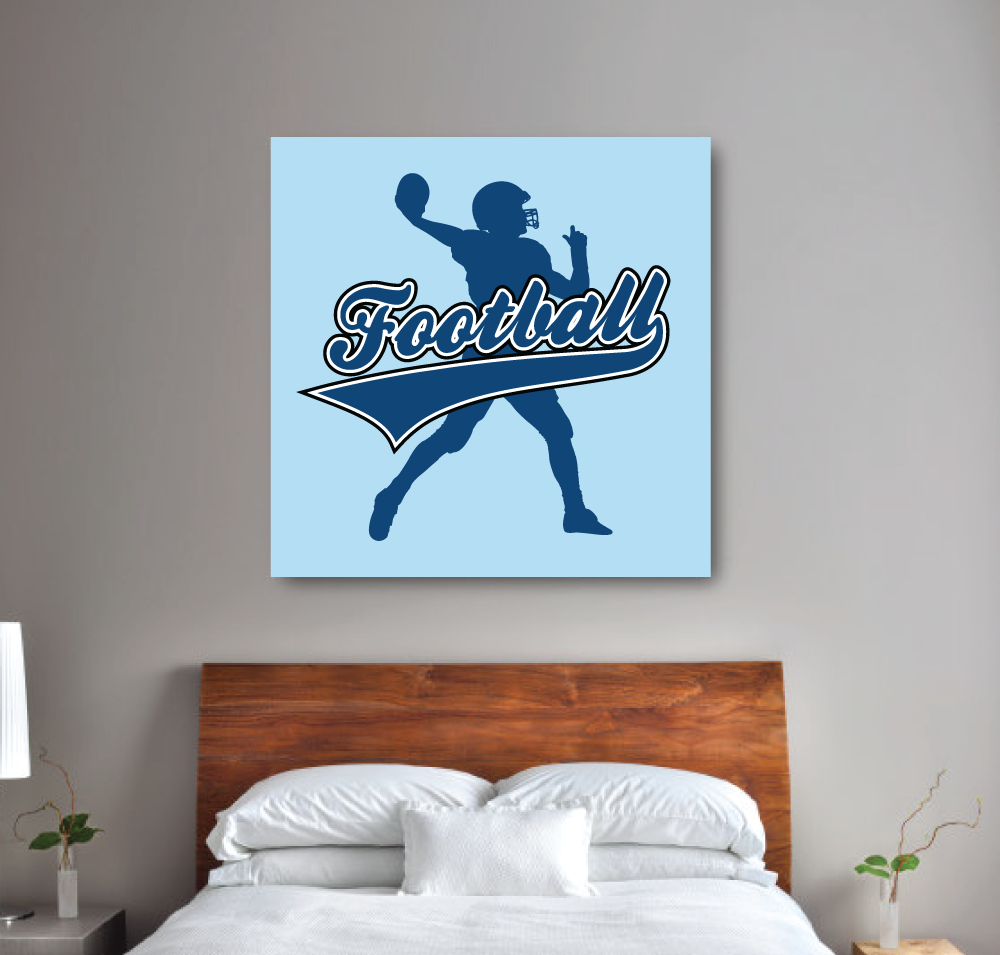 Football Canvas with Silhouette | Monaco Blue, Light Blue and White |  Choose ANY Colors