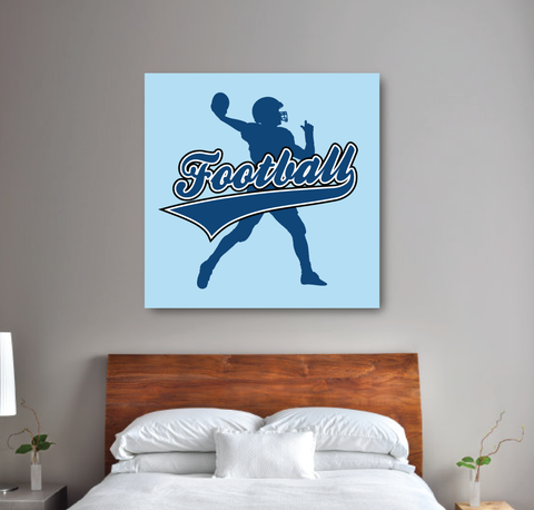 Football Player Themed Canvas - Wall Art For Boys Room - Football Themed Bedroom - Room Decor - Light Blue and Monaco Blue
