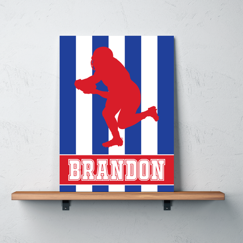 Striped Football Player Canvas - Wall Art for Boys - Sports Themed Decor - Gift - Red, White and Blue