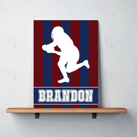 Striped Football Player Canvas - Wall Art for Boys - Sports Themed Decor - Gift - White, Navy, Burgundy