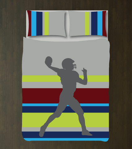 Multi Striped Football Player Bedding - Custom Duvet Cover Set - Boys Room Decor - Sports Theme - Grey, White, Charcoal, Bright Chartreuse, Navy, Burgundy