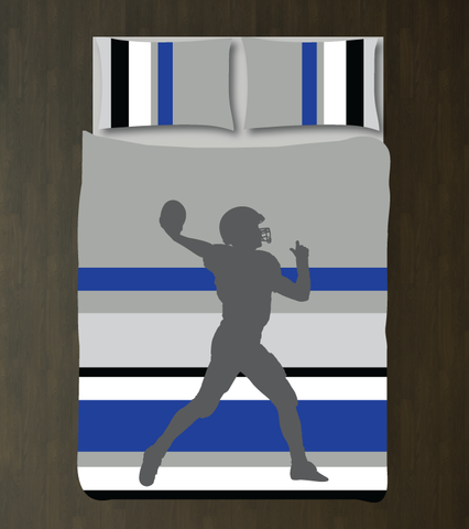Multi Striped Football Player Bedding - Custom Duvet Cover Set - Boys Room Decor - Sports Theme - Grey, White, Charcoal, Royal Blue and Black