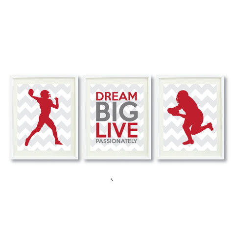 Dream Big Live Passionately Wall Art Print - Football Players - Sports Team Gift - Grey and Brick Red