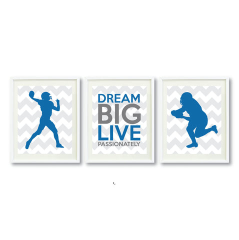 Dream Big Live Passionately Wall Art Print - Football Players - Sports Team Gift - Grey and Blue
