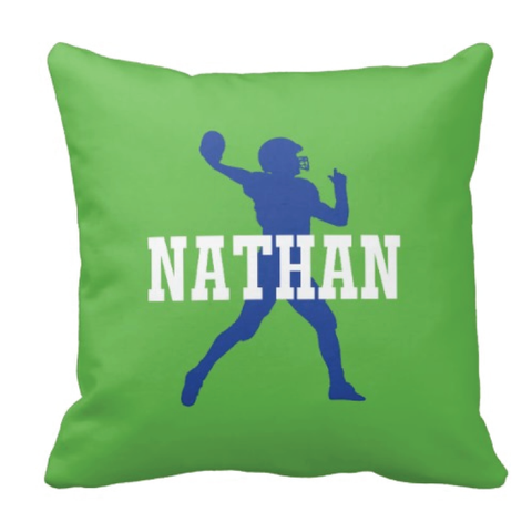 Personalized Football Player Pillow With Name - Custom Sports Gift for Boys - White, Green and Royal Blue