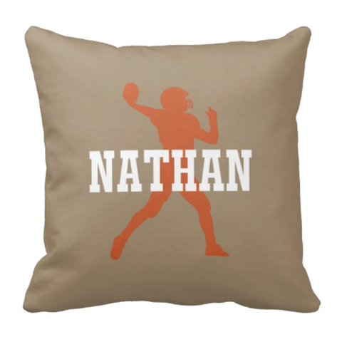 Personalized Football Player Pillow With Name - Custom Sports Gift for Boys - White, Tan and Burnt Orange