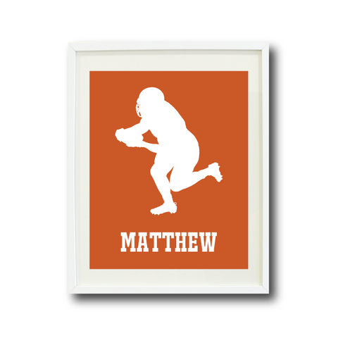 Football Player Art Print - Custom Sports Gift for Boys - White and Orange