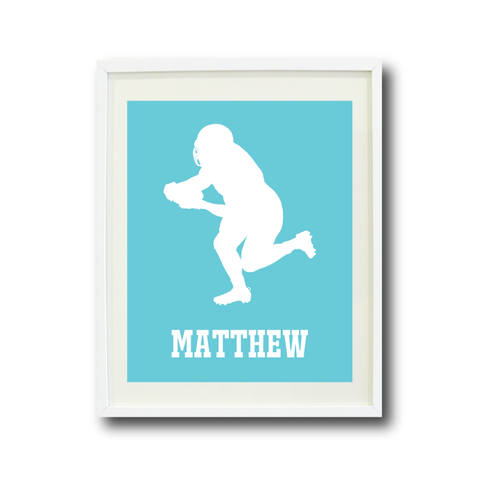 Football Player Art Print - Custom Sports Gift for Boys - White and Aqua