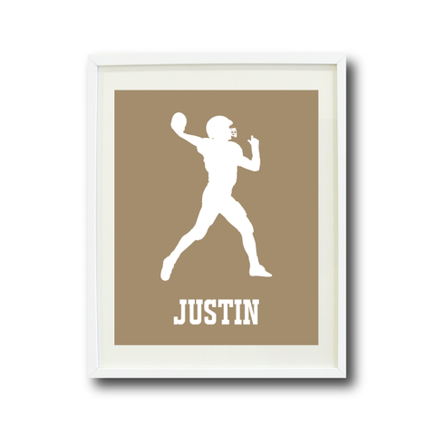 Football Player Art Print - Custom Sports Gift for Boys - White and Tan
