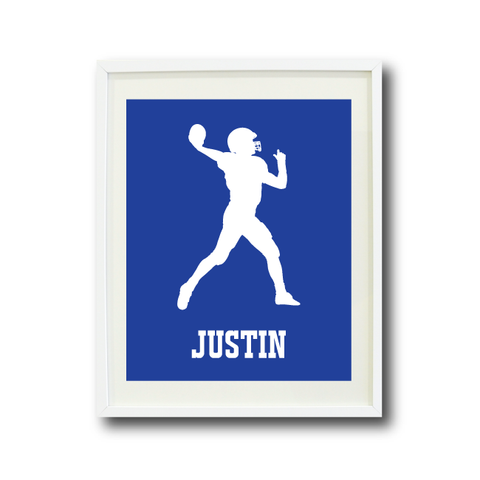 Football Player Art Print - Custom Sports Gift for Boys - White and Royal Blue