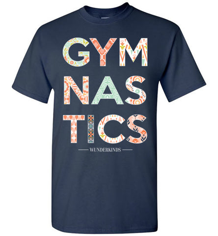 Gymnastics T-Shirt of Girls, southern style shirt, female gymnast, gymnastics mom, gym coach, graphic tee, typography, coral, mint, white, orange, tween, teen, teenager present, clothing, shirt, top, blouse, sporty clothes, apparel, junior shirt, navy blue white