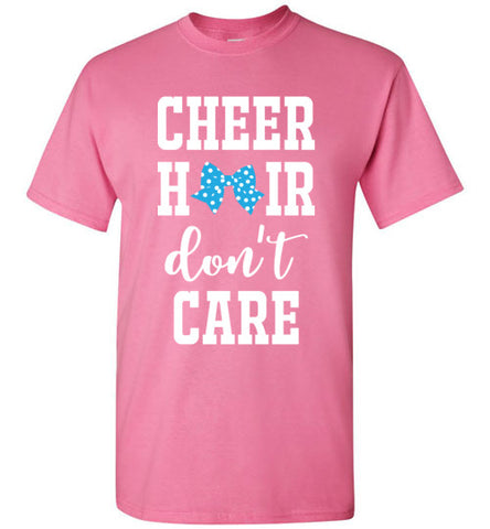 cheer hair don't care shirt, cheerleading shirt, cheerleader, cheer bow, girl gift, christmas present, turquoise, white, pink