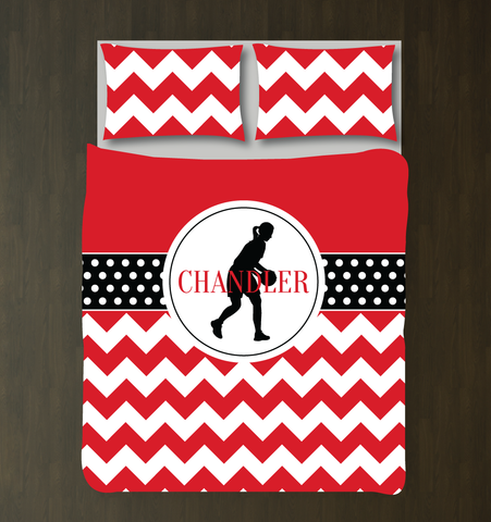 Custom Basketball Bedding Set with Chevron Stripes and Polka Dots - Gift for Girls and Teen Athletes - Basketball Player Themed Bedroom Decor - White, Black, Red