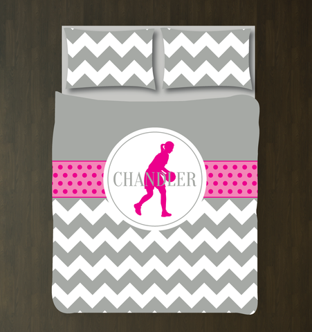 Custom Basketball Bedding Set with Chevron Stripes and Polka Dots - Gift for Girls and Teen Athletes - Basketball Player Themed Bedroom Decor - White, Grey, Hot Pink