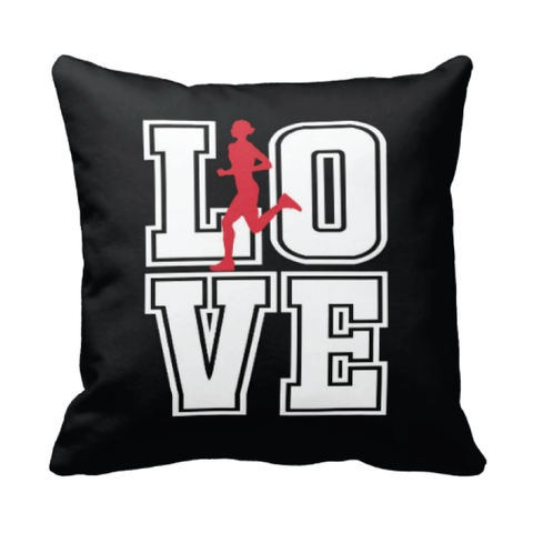 LOVE Running Silhouette Throw Pillow for Girls - Teen Girl Runner Bedroom Decor - College Dorm Room - White, Red and Black