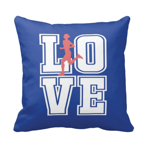 LOVE Running Silhouette Throw Pillow for Girls - Teen Girl Runner Bedroom Decor - College Dorm Room - Royal Blue, Cayenne and White