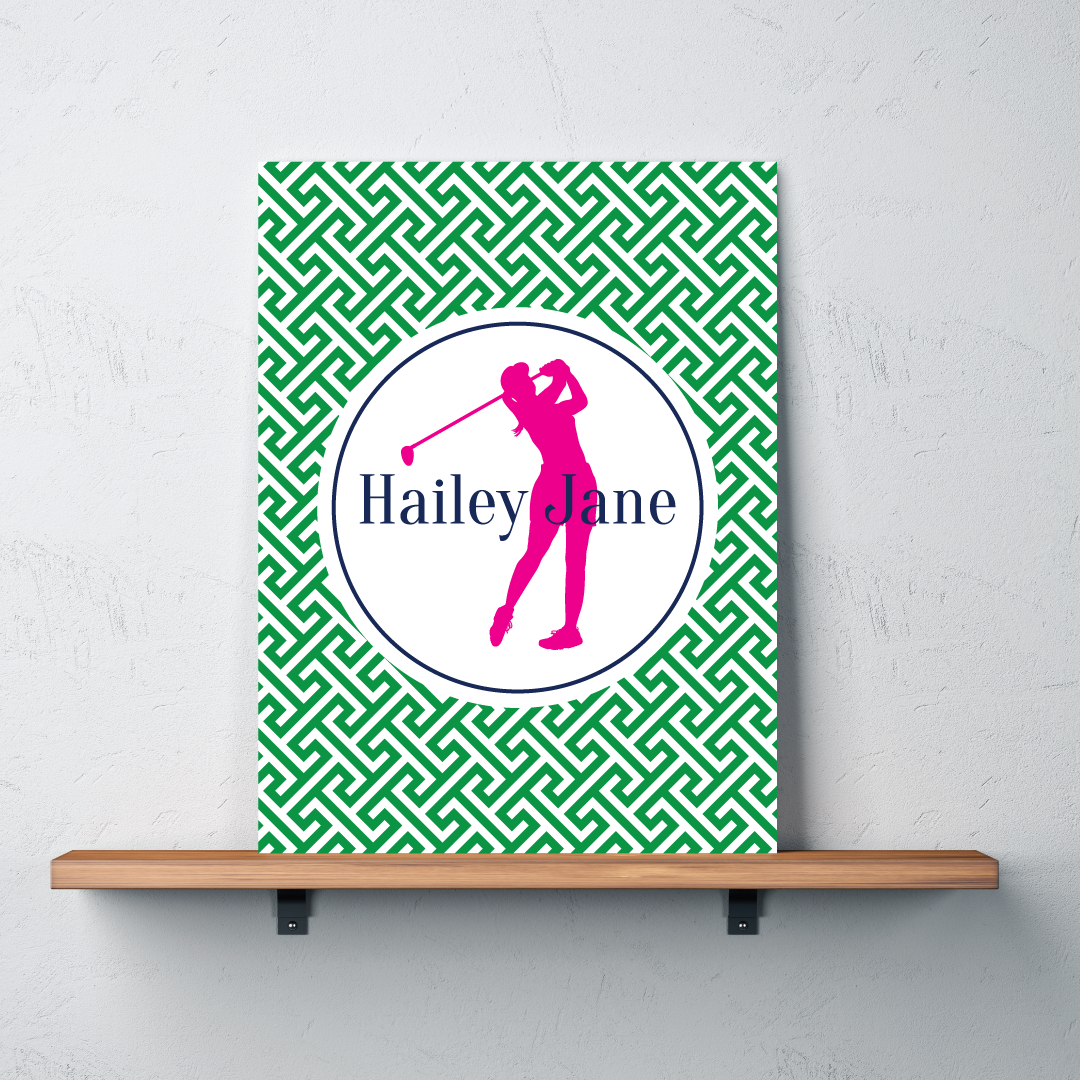 Golf silhouette canvas monogrammed name preppy cross for Personalized last name university shirts