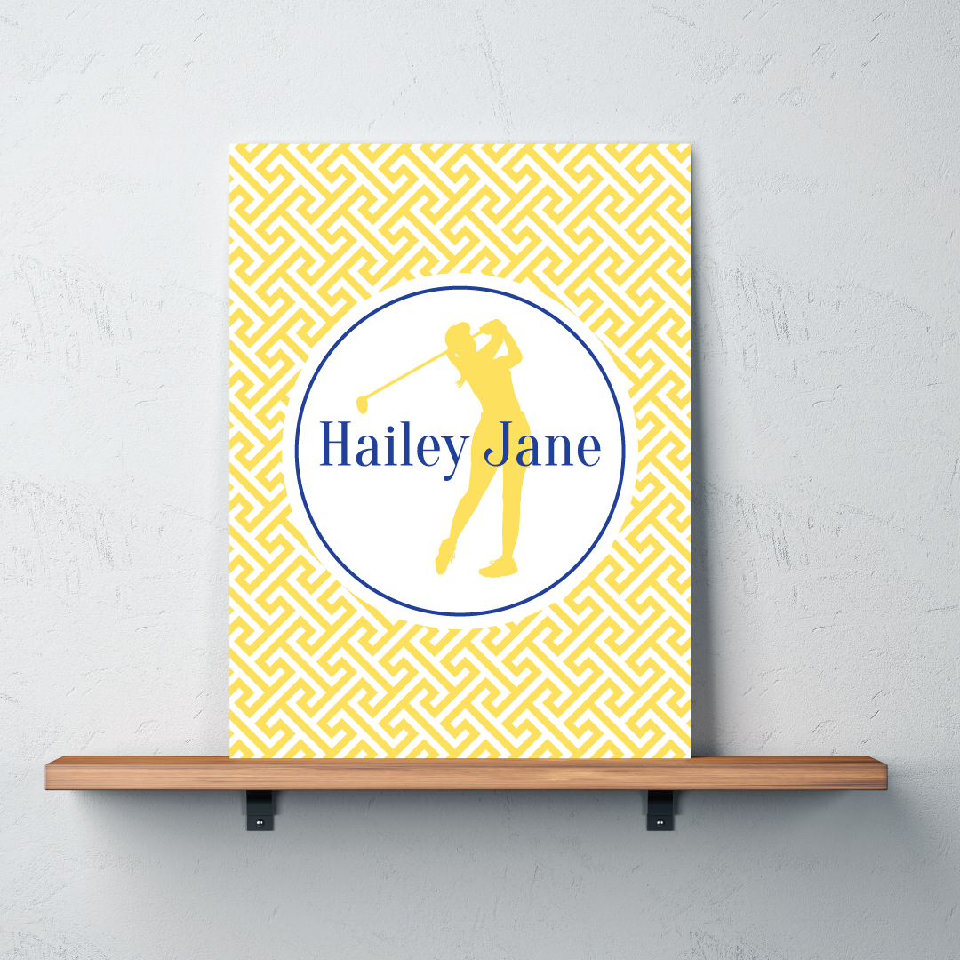 Golf Silhouette Canvas Monogrammed Name - Preppy Cross – Shop ...