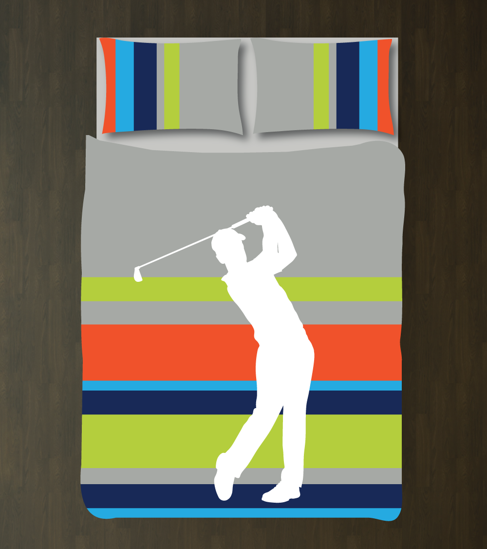 Golf Multi Striped Duvet Cover Set For Boys Room Golfer