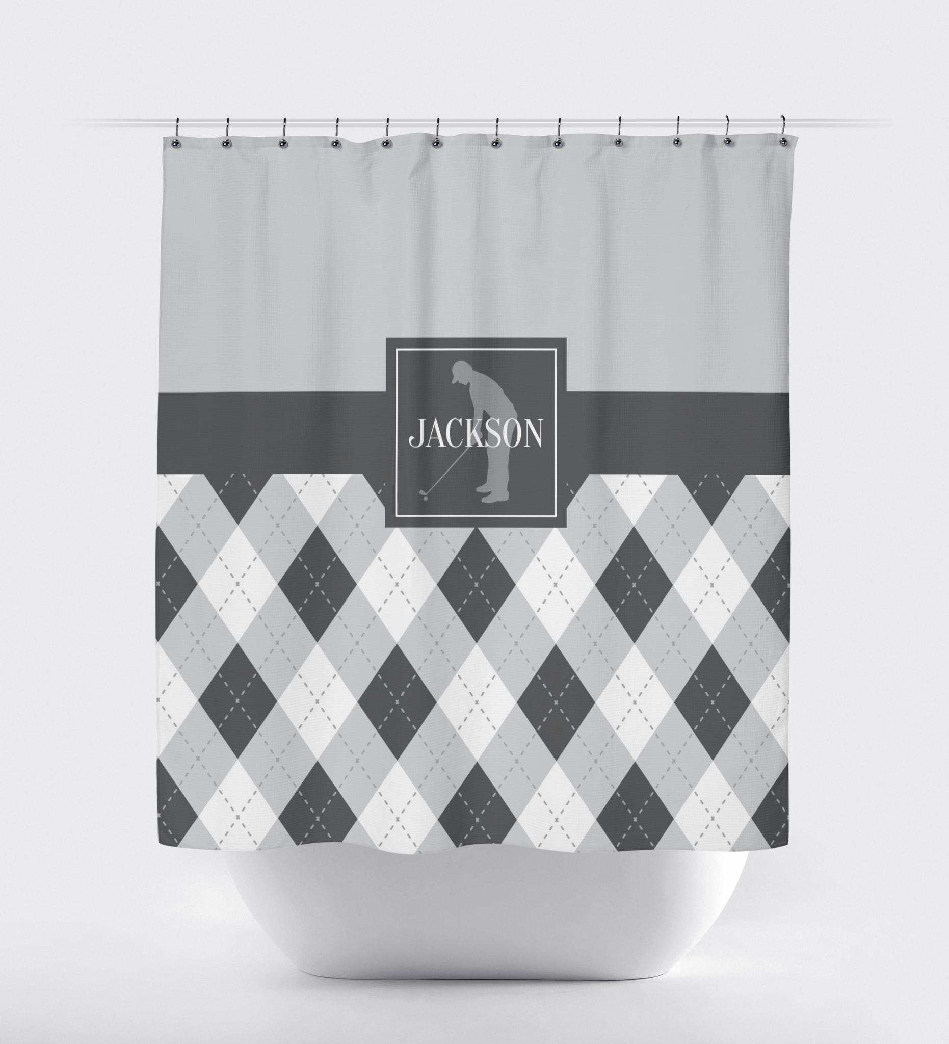 Boy bathroom shower curtains - Golf Shower Curtain Preppy Argyle Pattern Boys Teens Kids Mens Golf