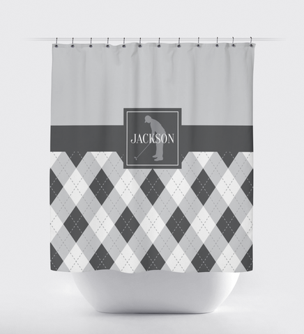 Golf Shower Curtain - Preppy Argyle Pattern - Boys, Teens, Kids - Mens Golf Team Gift - Golf Themed Bathroom Decor for Male Golfers - Light Grey, Charcoal Grey, White